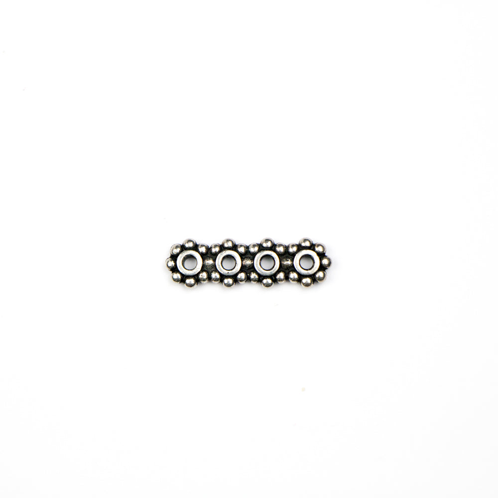 4-Hole 6mm Heisha Bar Link - Antique Silver Plate