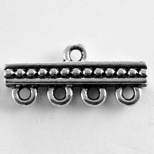 1-4 Beaded Bar Link - Antique Silver