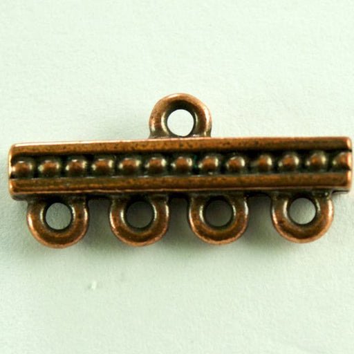 4-1 Beaded Bar Link - Antique Copper Plate