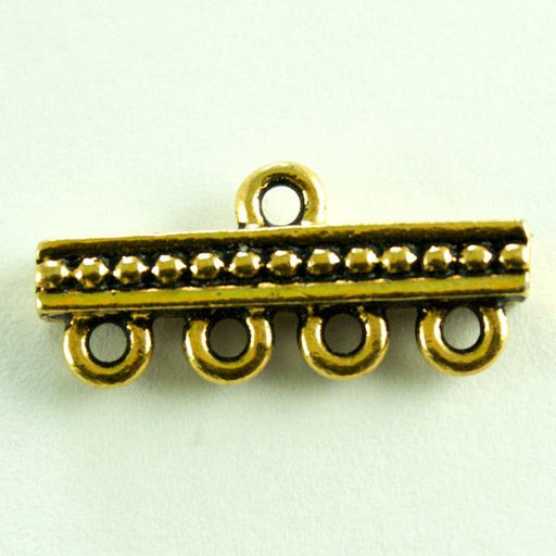 4-1 Beaded Bar Link - Antique Gold Plate
