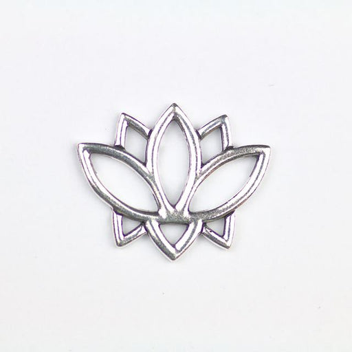 Open Lotus Link - Antique Silver Plate