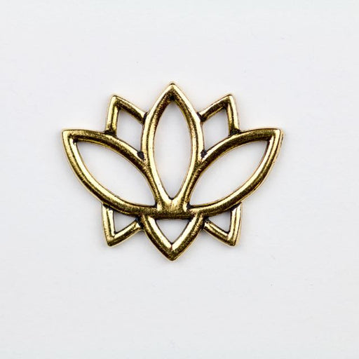 Open Lotus Link - Antique Gold Plate