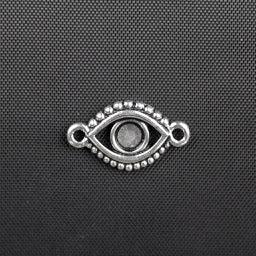 Evil Eye Bezel Link - Antique Silver