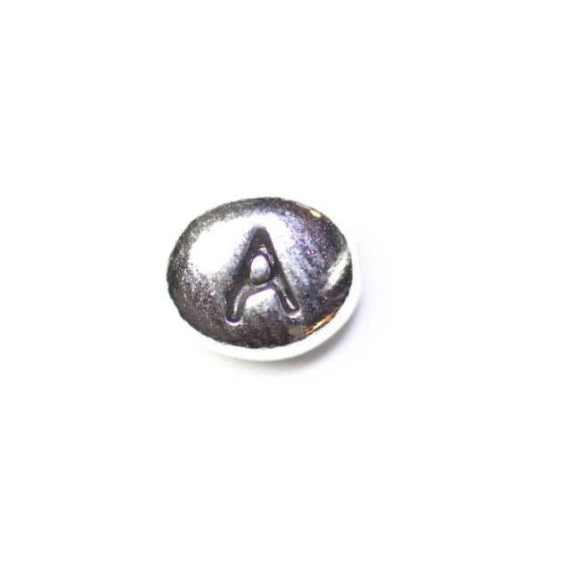 "Letter ""A"" Bead - Antique Rhodium Plate"