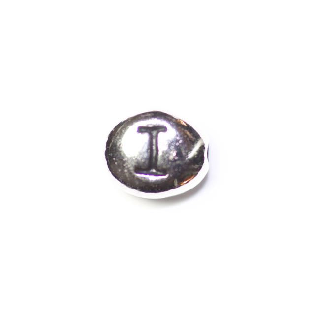"Letter ""I"" Bead - Antique Rhodium Plate"