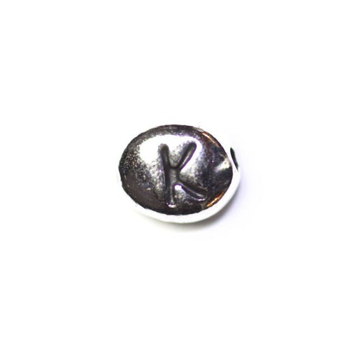"Letter ""K"" Bead - Antique Rhodium Plate"
