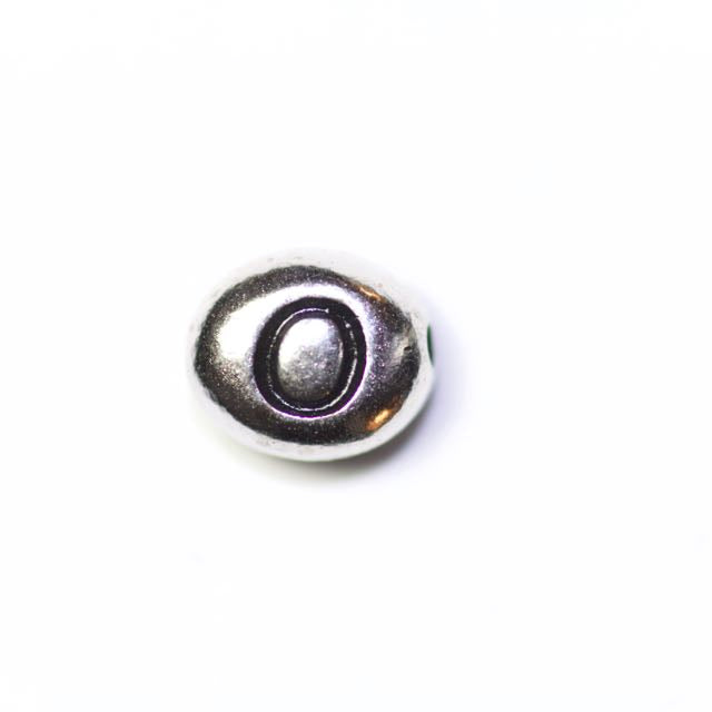 "Letter ""O"" Bead - Antique Rhodium Plate"