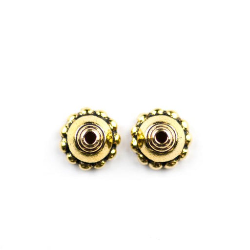 8mm Beaded Beadcap - Antique Gold Plate