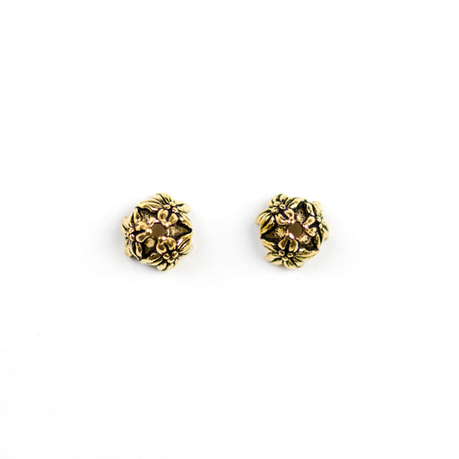 7mm Jasmine Beadcap - Antique Gold Plate