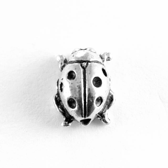 Ladybug Bead - Antique Silver Plate