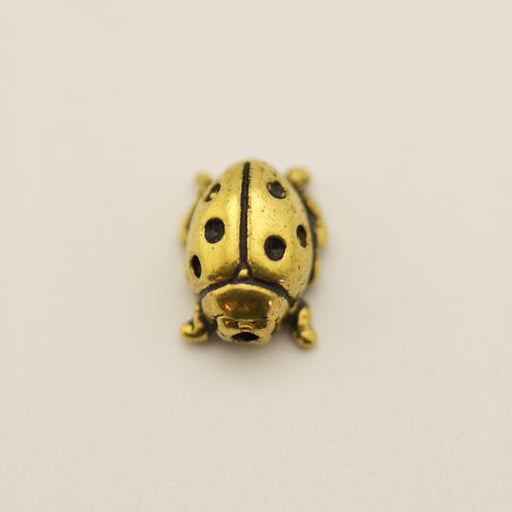Ladybug Bead - Antique Gold Plate