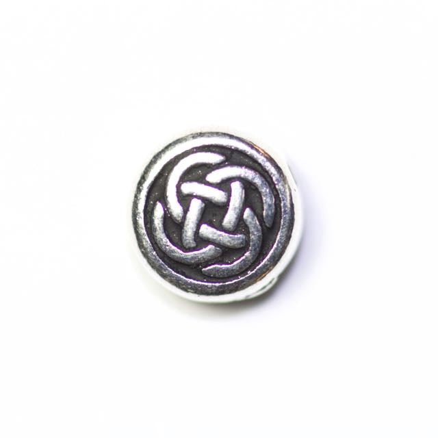 Small Celtic Circle Bead - Antique Silver Plate