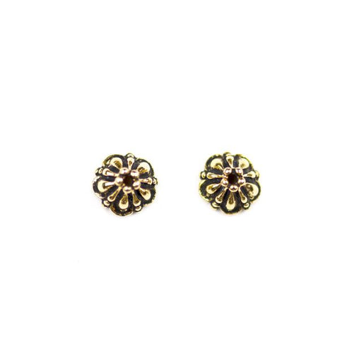 8mm Tiffany Beadcap - Antique Gold Plate