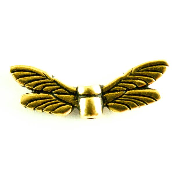 Dragonfly Wings Bead - Oxidized Brass