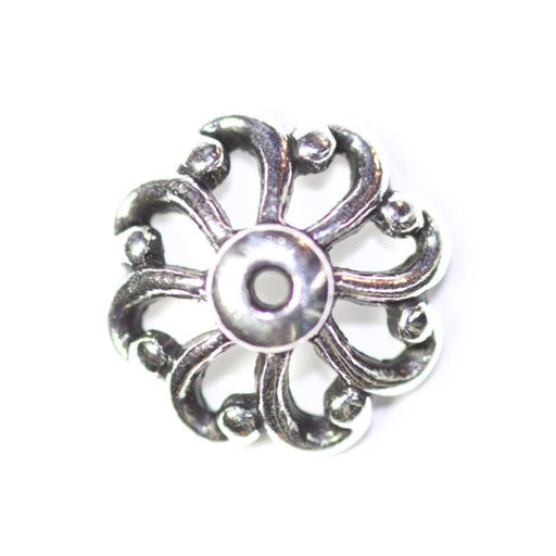 12mm Open Scalloped Beadcap - Antique Silver Plate