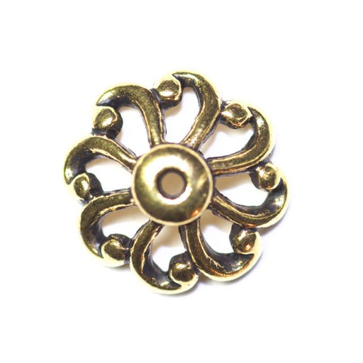 12mm Open Scalloped Beadcap - Antique Gold Plate
