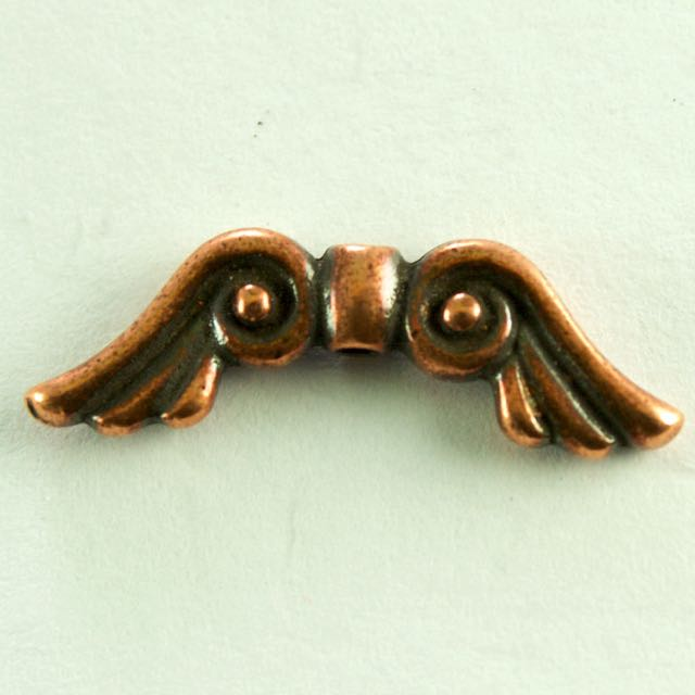 Angel Wing Bead - Antique Copper Plate