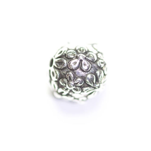Floral Round Bead - Antique Silver Plate