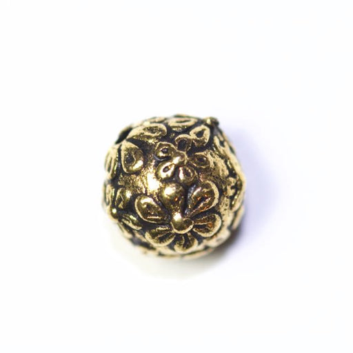 Floral Round Bead - Antique Gold Plate