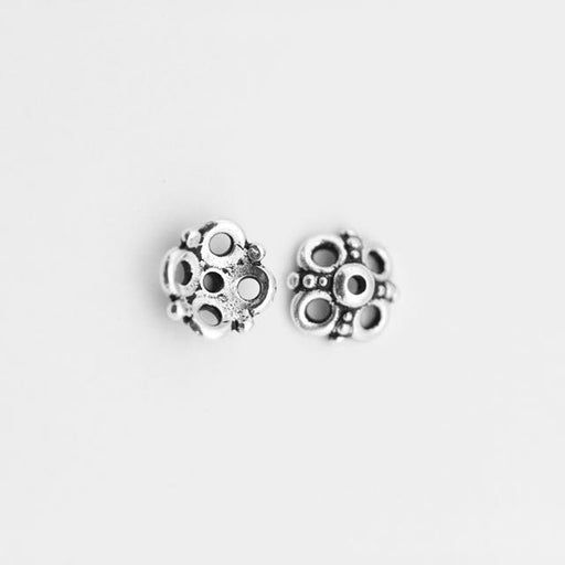9.0mm Clover Beadcap - Antique Silver Plate