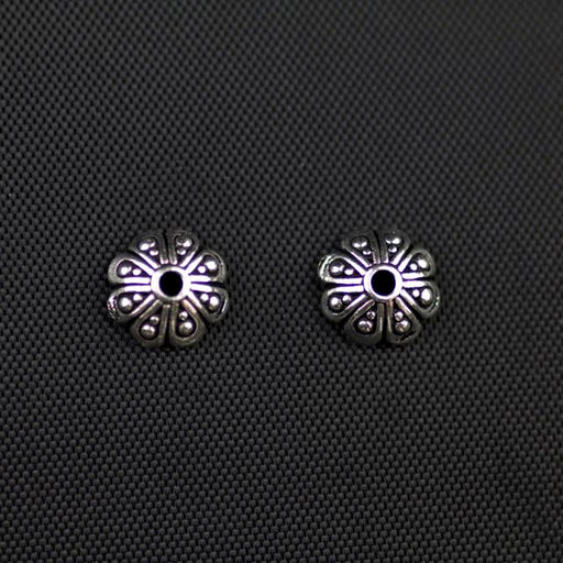 8mm Oasis Beadcap - Antique Silver Plate
