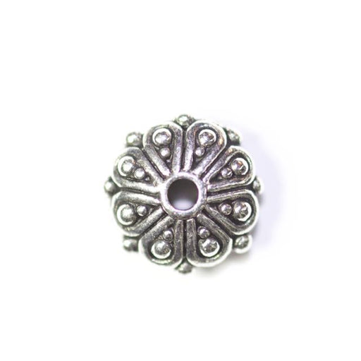 Oasis Rondelle Bead - Antique Silver Plate