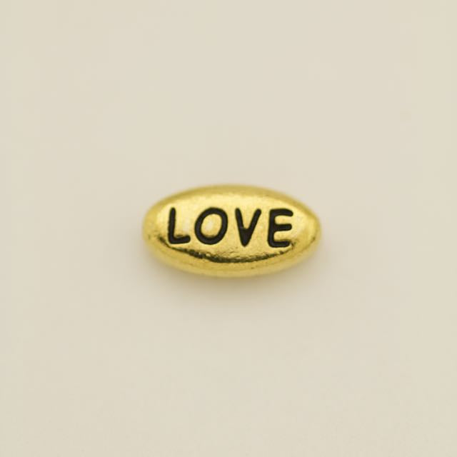 LOVE Bead - Antique Gold Plate