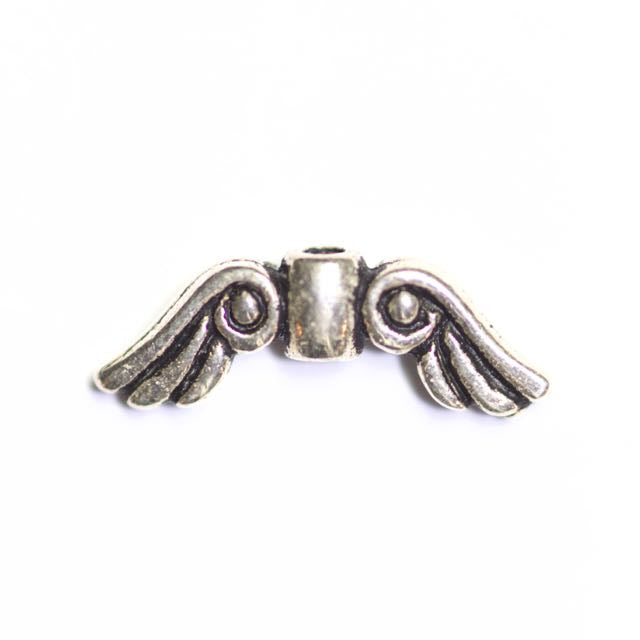 Small Angel Wing Bead - Antique Silver Plate