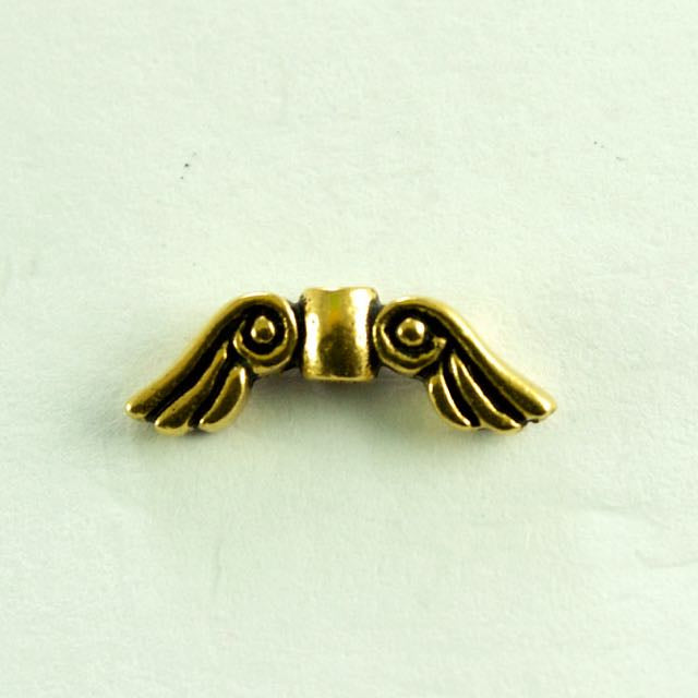 Small Angel Wing Bead - Antique Gold Plate