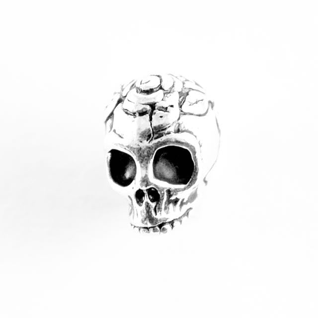 Rose Skull Bead - Antique Silver Plate