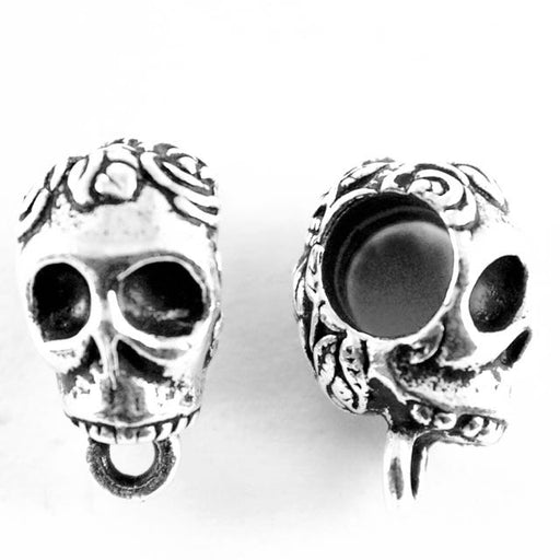 Skull EuroBead - Antique Silver Plate
