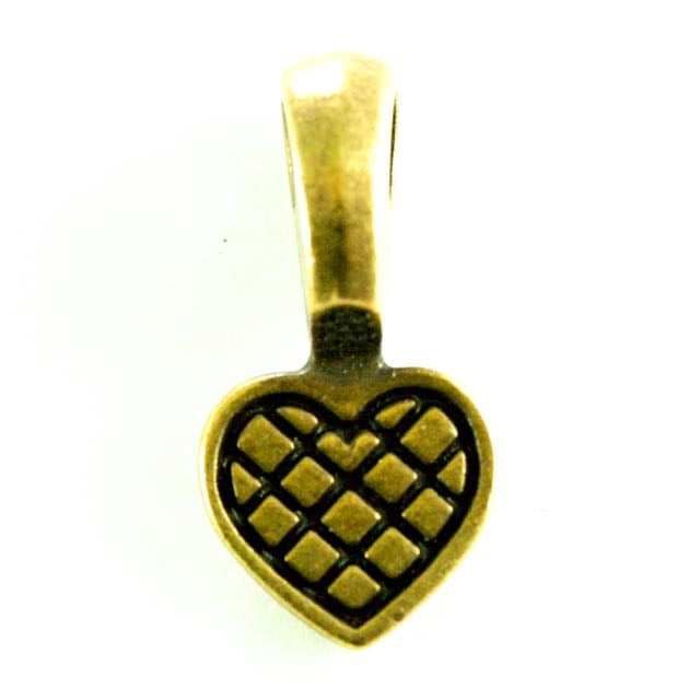 Heart Glue Pad Bail - Brass Oxide