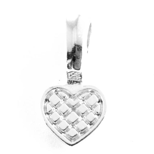 Heart Glue Pad Bail - Rhodium Plate