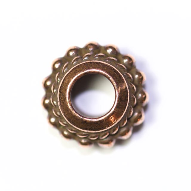 Beaded Twist Euro Bead - Antique Copper Plate