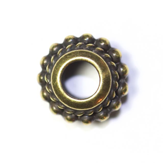 Beaded Twist Euro Bead - Oxidized Brass