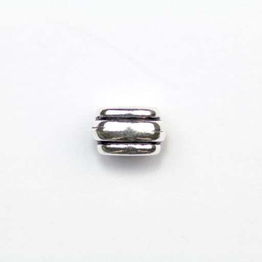 Deco Barrel Bead - Antique Silver Plate