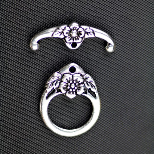 Floral Clasp Set - Antique Silver Plate