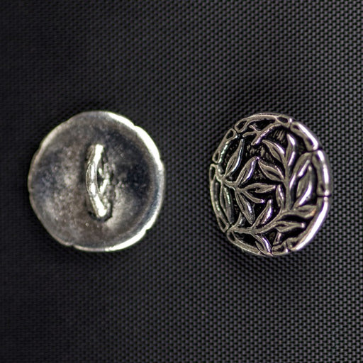 Bamboo Button - Antique Silver