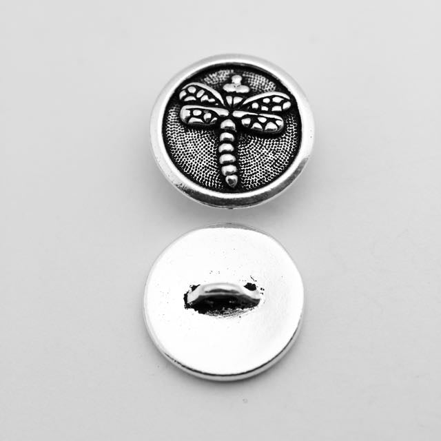 Dragonfly Button - Antique Silver Plate