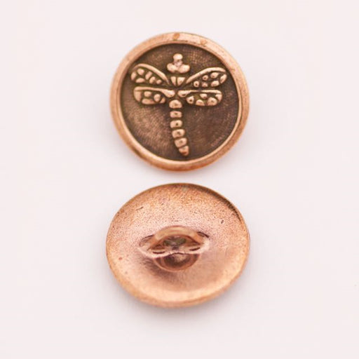 Dragonfly Button - Antique Copper