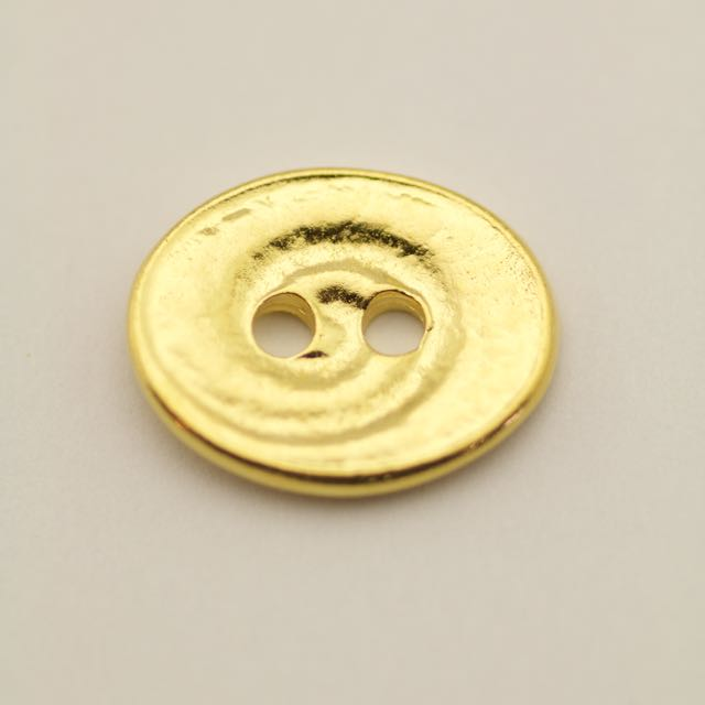 Swirl Button - Bright Gold Plate