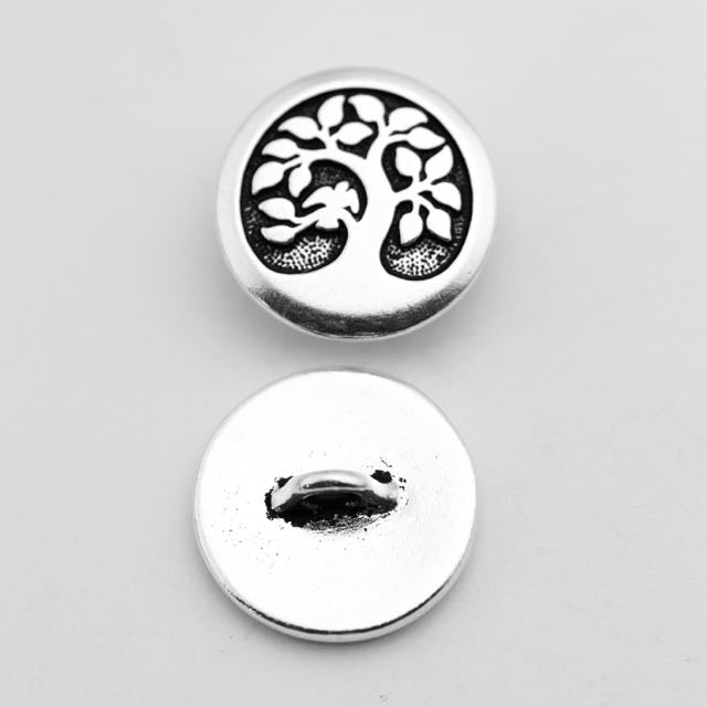 Bird in a Tree Button - Antique Silver Plate