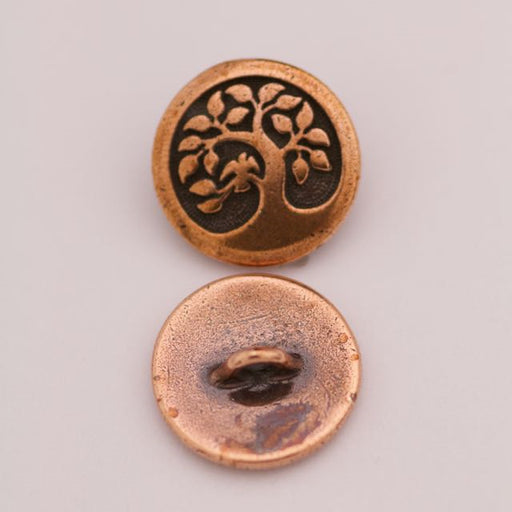 Bird in a Tree Button - Antique Copper
