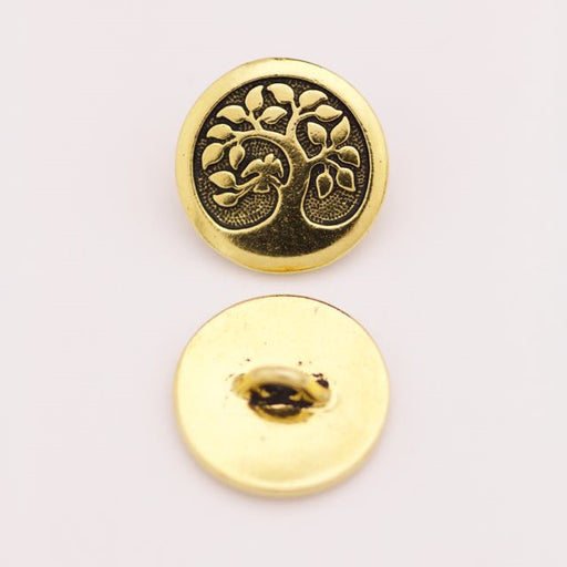 Bird in a Tree Button - Antique Gold
