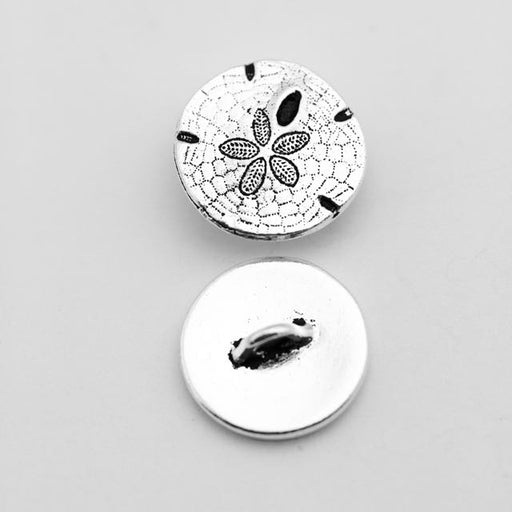 Sand Dollar Button - Antique Silver