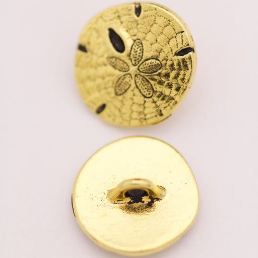 Sand Dollar Button - Antique Gold