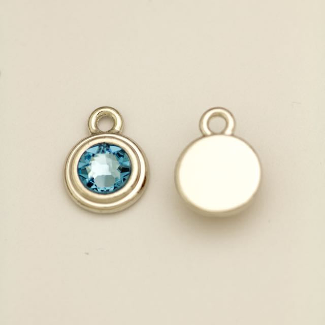 SS34 Stepped Bezel RB Charm - Aquamarine