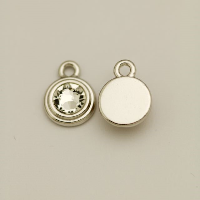 SS34 Stepped Bezel RB Charm - Crystal