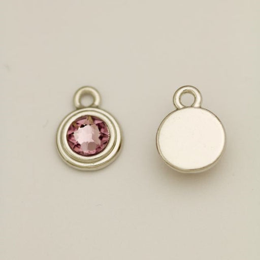 SS34 Stepped Bezel RB Charm - Light Amethyst