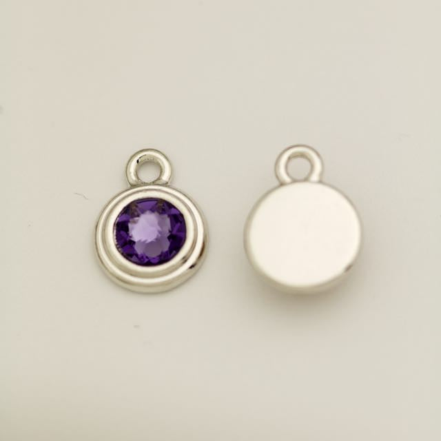 SS34 Stepped Bezel RB Charm - Tanzanite
